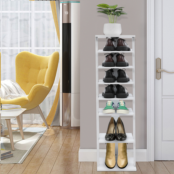 7 Tiers Shoe Rack, Entryway Wooden Shoes Racks, Space Saving Shoes Storage Stand,Black Color