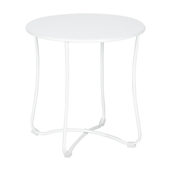 "18"" Metal Countertop Small Round Table Terrace Wrought Iron Side Table White"