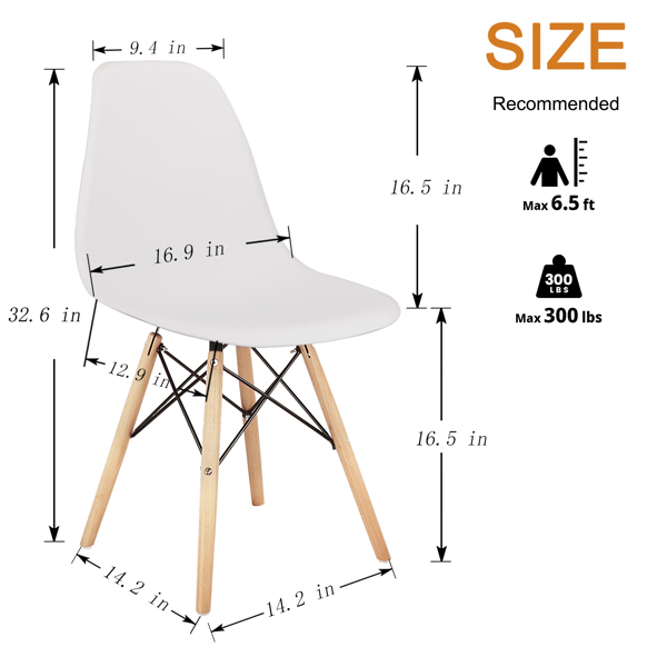 Living Room Chairs/Dining Chairs/Desk Chairs/Office Chairs/Leisure Chairs/Natural Beech Chairs with ABS backrest, a Set of 4, White