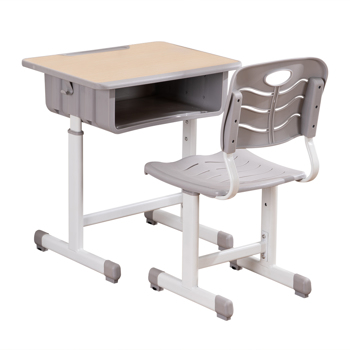 Adjustable Students Children Desk and Chairs Set Light Grey