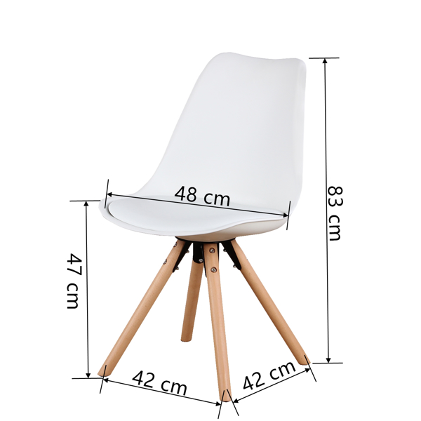 EDLMH Set of 4, Linen/Velvet Fabric/ABS PP Nordic Dining Chair with Beech Wood Legs for Dining Room, Living Room, Office, Bedroom, White