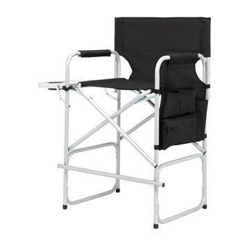 Silver White Iron Pipe Black Cloth Surface Plastic Sprayed Iron Round Pipe Director's Chair 103*60*499cm 120kg Without Carrying Bag