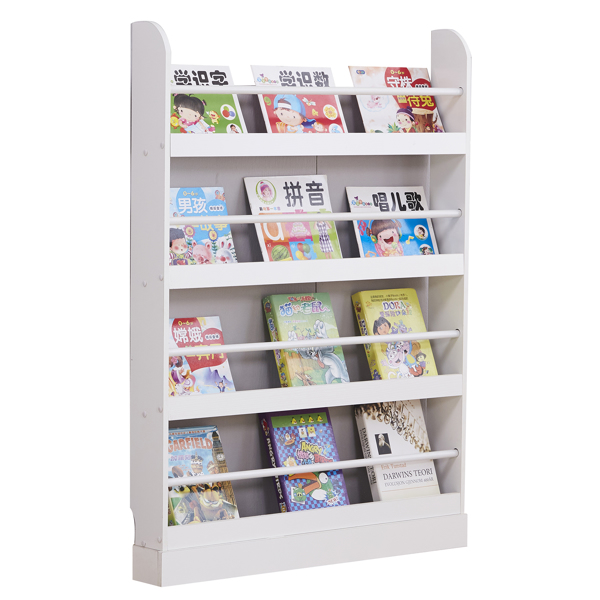 4 Tier Children's Bookcase Rack Free Standing Against The Wall, Display Storage Shelves for Books Toys in Study Living Room Bedroom