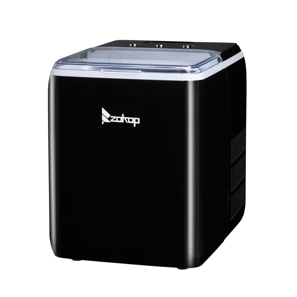 ZOKOP 120V 150W 44lbs/20kg/24h Ice Maker Black Plastic Transparent Cover/Display Commercial/Household