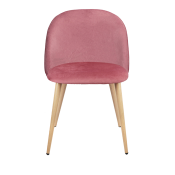 Set of 2 Exquisite Velvet Dining Chair, Kitchen/Bedroom/Lounge Ear Chair with Metal Wood Grain Color Legs, Pink A