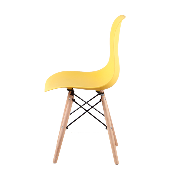 Living Room Chairs/Dining Chairs/Desk Chairs/Office Chairs/Leisure Chairs/Natural Beech Chairs with ABS backrest, a Set of 4, Yellow