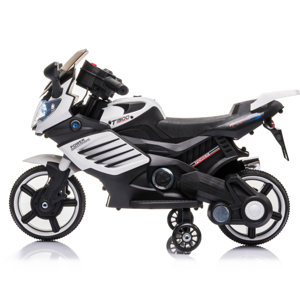 Single Drive 6V 4.5A.h Children's Motorcycle without Remote Control White
