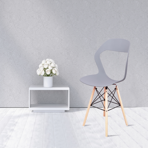 Living Room Chairs/Dining Chairs/Desk Chairs/Office Chairs/Leisure Chairs/Natural Beech Chairs with ABS backrest, a Set of 4, Gray