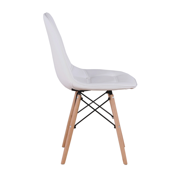 Set of 4 PU Leather/Velvet Ergonomic Dining Chair with Metal Frame and Beech Wood Legs for Dining Room, Office, Living Room, Bedroom, White
