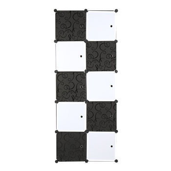 10 Cube Organizer Stackable Plastic Cube Storage Shelves Design Multifunctional Modular Closet Cabinet with Hanging Rod, Black and White