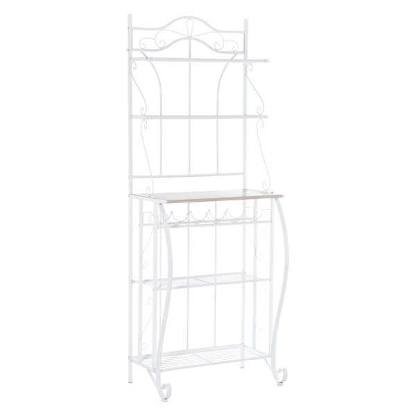 HODELY Lace White 5-Layer Light Walnut MDF Board With Wine Rack Iron Kitchen Shelves