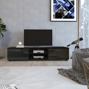Black TV Stand for 70 Inch TV Stands, Media Console Entertainment Center Television Table, 2 Storage Cabinet with Open Shelves for Living Room Bedroom
