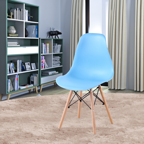 Living Room Chairs/Dining Chairs/Desk Chairs/Office Chairs/Leisure Chairs/Natural Beech Chairs with ABS backrest, a Set of 4, blue