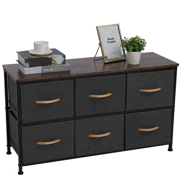 3-Tier Wide Drawer Dresser, Storage Unit with 6 Easy Pull Fabric Drawers and Metal Frame, Wooden Tabletop for Closets, Nursery, Dorm Room, Hallway,Gray