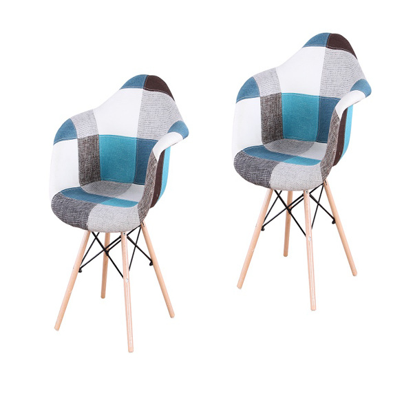 EDLMH Set of 2/4 ABS PP/Linen/Velvet Fabric Dining Chair with Metal Frame and Natural Beech Wood Chair legs, with Armrest for Dining Room, Living Room, Kitchen, Linen Patchwork B