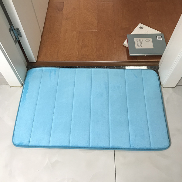 Memory Foam Bath Mat , Soft and Comfortable, Super Water Absorption, Non-Slip, Thick, Machine Wash, Easier to Dry Bathroom Floor Rug 50*80cm-light blue