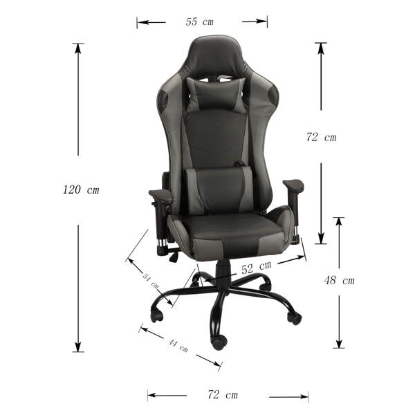Gaming Chairs, Office Swivel Chairs, with headrest and Lumbar Pillow, Gray