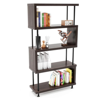 S-Shaped 5 Shelf Bookcase, Wooden Z Shaped 5-Tier Vintage Industrial Etagere Bookshelf Stand for Home Office Living Room Decor Books Display (Brown)