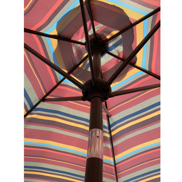 Outdoor Patio 8.6-Feet Market Table Umbrella with Push Button Tilt and Crank, Red Stripes[Umbrella Base is not Included]