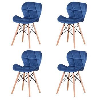 Set of 4 Exquisite Modern Ergonomic Design PU Dining Chair with Natural Beech Wood Legs for Dining Room, Office, Living Room, Kitchen, Blue