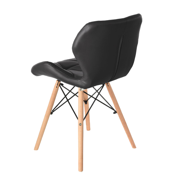 EDLMH Set of 4 Exquisite Modern Ergonomic Design PU Dining Chair with Natural Beech Wood Legs for Dining Room, Office, Living, Room, Kitchen, Black