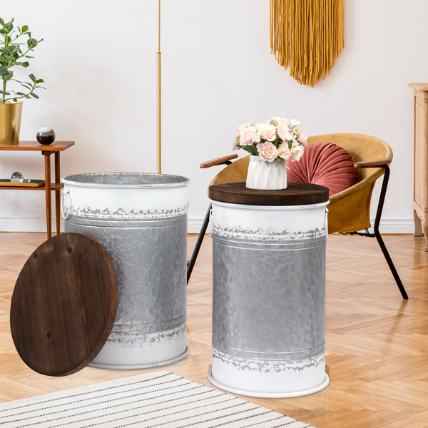 Antique Storage Stool, Farm Desk, Galvanized Metal Side Table, Toy Box with Round Wooden Cover, Living Room Furniture, Two Inlays, Gray White