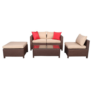 Oshion 5-Piece Set Rattan Sofa Hanging Legs 2 Corners 1 Sofa Without Armrests 1 Foot Drag 1 Rectangular Coffee Table Brown  (Total Three Boxes)