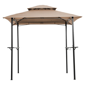 Outdoor Grill Gazebo 8 x 5 Ft, Shelter Tent, Double Tier Soft Top Canopy and Steel Frame with hook and Bar Counters, Khaki