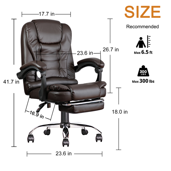 Ergonomic Executive Office Swivel Chair, Gaming Chair, Computer Chair, high Back, Adjustable Height and Angle, Cafe