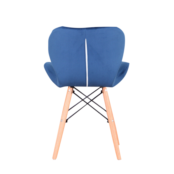 EDLMH Set of 4 Exquisite Modern Ergonomic Design PU Dining Chair with Natural Beech Wood Legs for Dining Room, Office, Living, Room, Kitchen, Blue