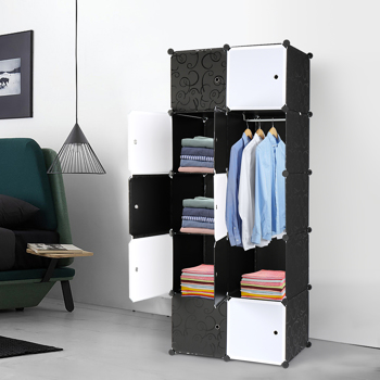 10 Cube Organizer Stackable Plastic Cube Storage Shelves Design Multifunctional Modular Closet Cabinet with Hanging Rod , Black and White