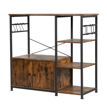 Hodely 4-Layer Particleboard Industrial Wind With Side Cabinets Wrought Iron Kitchen Shelf