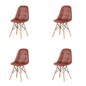 Set of 4 PU Leather/Velvet Ergonomic Dining Chair with Metal Frame and Beech Wood Legs for Dining Room, Office, Living Room, Bedroom, Brown