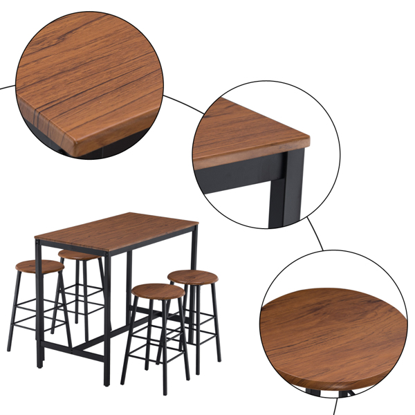 (110 x 60 x 92cm) Round Stool Bar Table and Chair Set for 4 People Wood Grain Color PVC 4 Stools