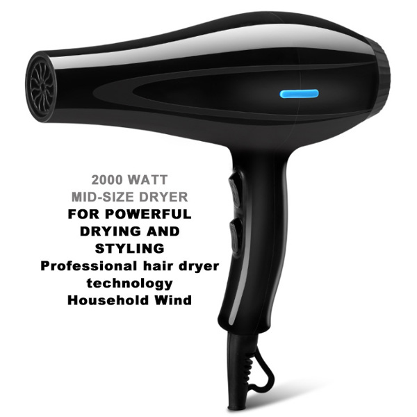 Black Hair Dryer Professional 2000W POWER Mid-Size for All Hair Top Quality