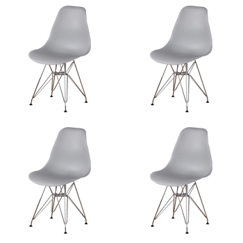 Set of 4 Modern Design Dining Chair with Chrome Metal Legs, Nordic Style Exquisite Design Chair for Living room, Office, Study, Bedroom, Gray
