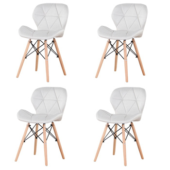 Set of 4 Exquisite Modern Ergonomic Design Dining Chair with Natural Beech Wood Legs for Dining Room, Office, Living Room, Kitchen, Creamy White