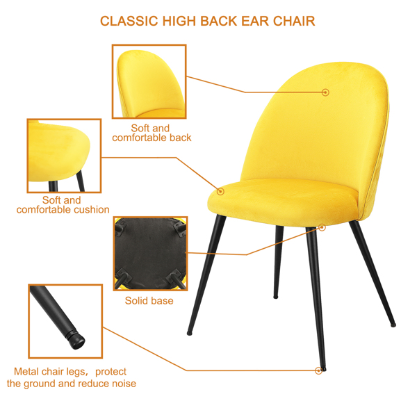 Set of 2,  Exquisite Velvet Dining Ear Chair, Kitchen/Bedroom/Lounge Chair with Metal Wood Grain Color Legs, Yellow C