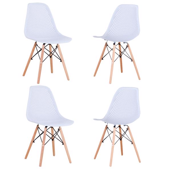 Set of 4 Nordic Classic Dining/Office Chair with Ergonomic design for Kitchen, Dining Room, Living Room, Office,White