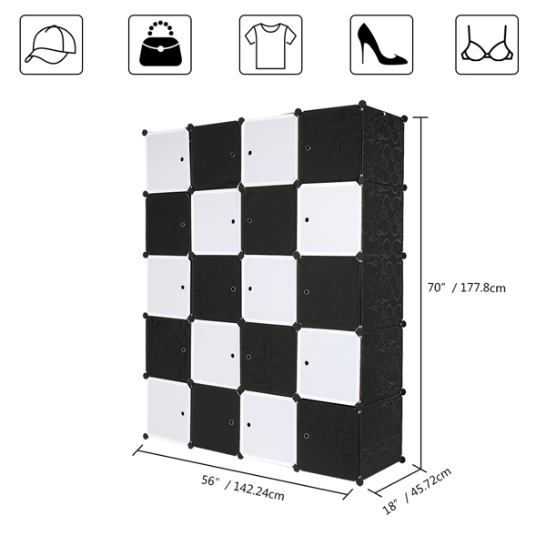 20 Cube Organizer Stackable Plastic Cube Storage Shelves Design Multifunctional Modular Closet Cabinet with Hanging Rod Black and White