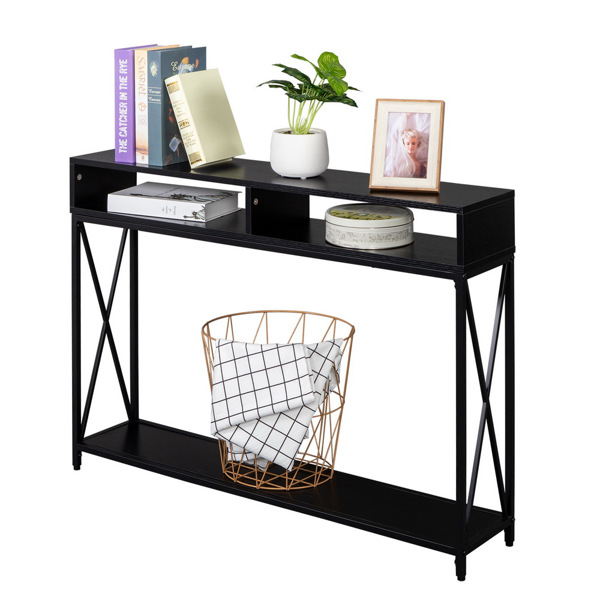 Industrial Style Porch Table Side Cross, 3-layer Black Oak Triamine Board [108*23*76cm]