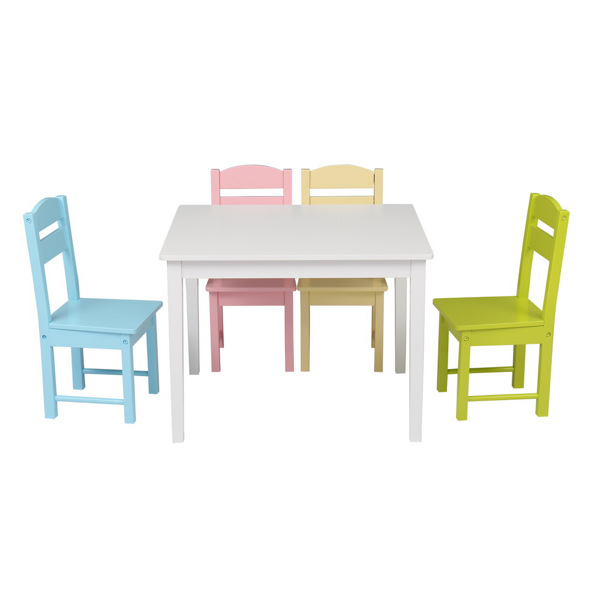 Children's Wooden Table And Chair Set Colorful (One Table With Four Chairs)