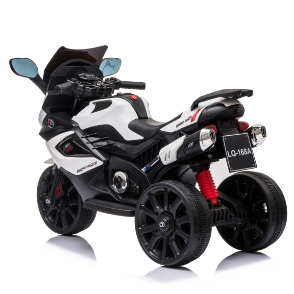 Dual Drive 12V 4.5A.h Children's Motorcycle without Remote Control White