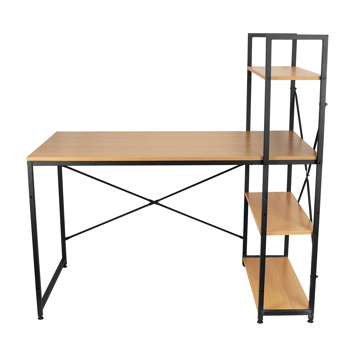 one Piece,Corner Computer Wooden Table with Bookshelf, Yellow