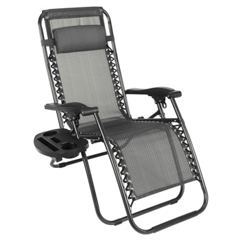 Zero Gravity Chair, Folding Lounge Reclining Deck Chaise with Adjustable Headrest Pillows