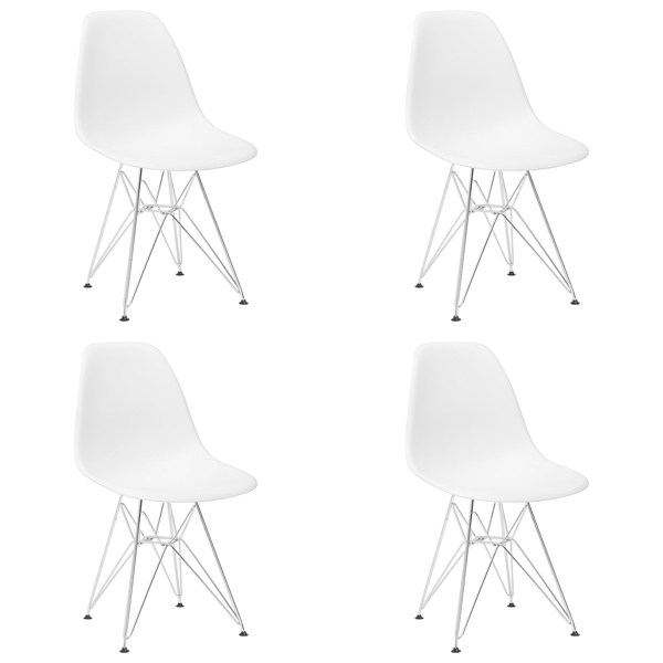 Set of 4 Modern Design Dining Chair with Chrome Metal Legs, Nordic Style Exquisite Design Chair for Living room, Office, Study, Bedroom, White