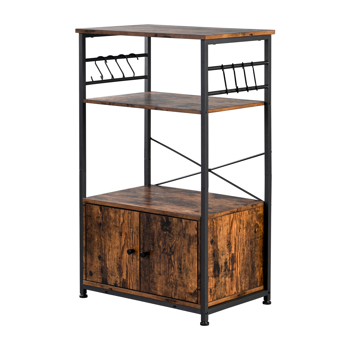 Hodely 3-Layer Particleboard Industrial Wind With Cabinets Wrought Iron Kitchen Shelf