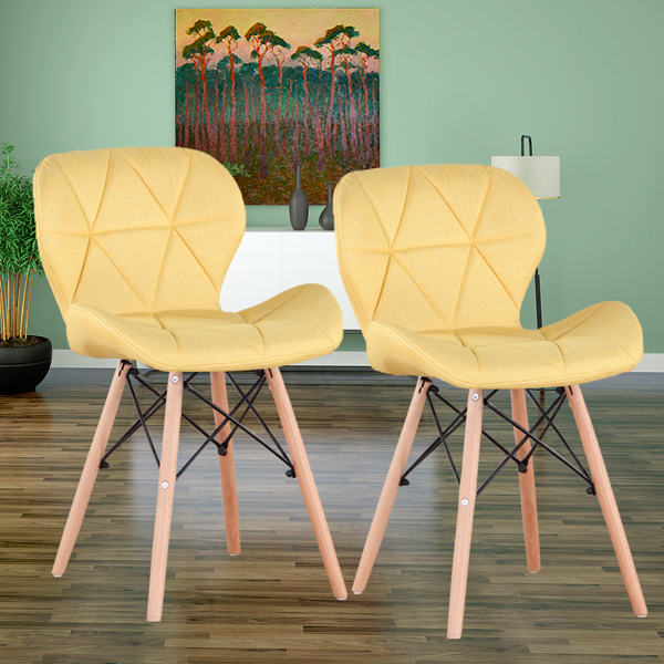 EDLMH Set of 4 Exquisite Modern Ergonomic Design Dining Chair with Natural Beech Wood Legs for Dining Room, Office, Living, Room, Kitchen, Yellow