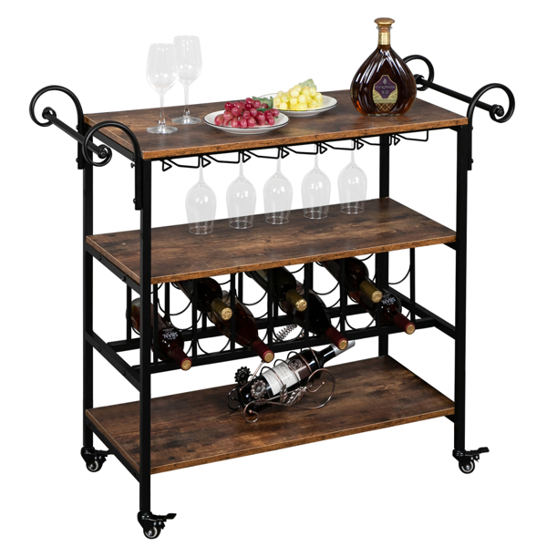 HODELY Three-Layer Double-Armrest Small Wave Wine Bottle Layer 1.5mm Thick Density Board Fire Pattern Removable Iron Wood Craft Wine Cart