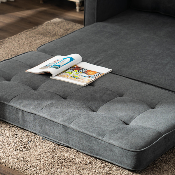 Disassembly and Assembly of Back Pull Point Double Sofa Bed Grey Sofa Bed Simple Nordic Style 148 * 74 * 81cm Solid Wood Soft Bag